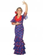 Déguisement flamenco bleu et rouge fille
