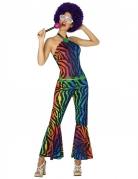 Déguisement disco zébré multicolore femme