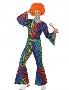 Déguisement disco léopard multicolore homme