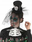 Serre tête mini chapeau noir Dia de los muertos avec voile adulte
