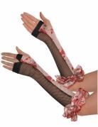 Gants sans doigts ensanglantés à volants Halloween