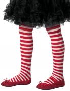 Collants rayés blancs et rouge enfant