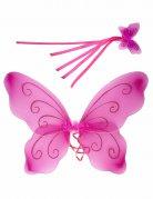 Ailes papillon roses et baguette magique assortie enfant