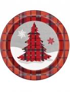 8 Assiettes en carton Chalet de Noël 23 cm