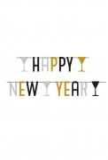 Guirlande happy new year argent noir & doré