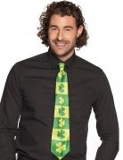 Cravate rayée trèfles adulte Saint Patrick