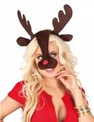 Serre-tête et nez renne adulte Noël
