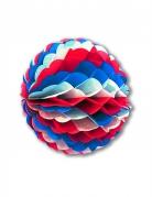 Boule en papier alvéolé bleu blanc rouge 25 cm