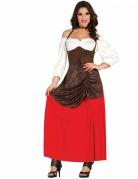 Déguisement tavernière marron et rouge femme