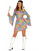 Déguisement hippie avec symboles colorés femme