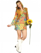 Déguisement hippie avec symboles colorés et gilet femme