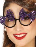 Lunettes années 50 avec noeuds violets femme