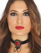 Ras de cou noir avec rose rouge femme