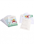 6 Cartes d'invitation avec enveloppes Princesse 10 x 15 cm