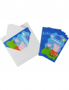 6 Cartons d'invitation avec enveloppes Peppa Pig™ 10 x 15 cm