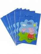 6 Sacs cadeaux en plastique Peppa Pig™ 22.5 x 15 cm