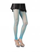 Collants résille grande maille sans pieds turquoise femme