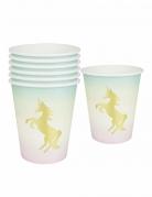12 Gobelets en carton Licorne iridescents 250 ml