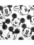 25 Serviettes en papier Mickey™ rétro noir et blanc 33 x 33 cm
