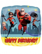 Ballon carré aluminium Happy Birthday Les Indestructibles™ 43 cm