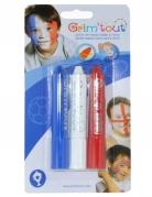 3 Sticks maquillage Bleu, Blanc et Rouge Grim'Tout