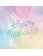 16 Serviettes en papier Happy Birthday multicolores iridescentes 33 x 33 cm