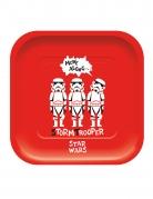 4 Assiettes en carton carré premium Star Wars™ 24 x 24 cm