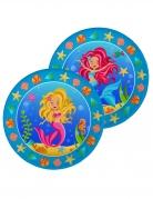 8 Assiettes en carton Sirènes multicolores 23 cm