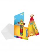 8 Cartons d'invitations en carton Indien avec enveloppes 12 x 22 cm
