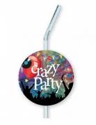 6 Pailles en plastique avec médaillon Crazy Party 12 x 33 cm