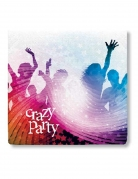 20 Serviettes en papier Crazy Party blanc 33 x 33 cm