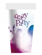 6 Gobelets en carton Crazy Party blancs 25 cl
