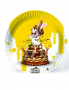 6 Assiettes en carton Lapins Crétins™ jaune 23 cm
