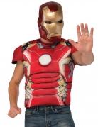 Poitrine musclée deluxe avec masque Iron man™ adulte