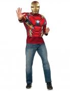 T-shirt avec muscles et masque Iron Man Captain America Civil War™ adulte