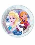 8 Assiettes en carton La Reine des Neiges hiver™ 23 cm