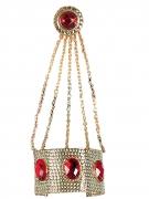 Bracelet avec bague doré et pierres rouges femme