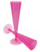 10 Flûtes en plastique rose neon 148 ml