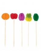 50 Piques en papier alvéolés fruits multicolores 10 cm