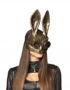 Demi masque lapin doré adulte Steampunk