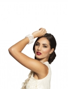 Bracelet perles blanches femme