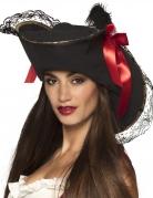 Chapeau pirate avec dentelle et noeud rouge femme