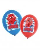 6 Ballons en latex Spiderman™ rouges et bleus 27,5 cm