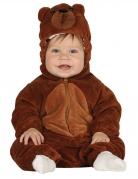 Déguisement combinaison avec capuche ours brun bébé