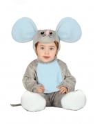 Déguisement combinaison avec capuche souris grise bébé