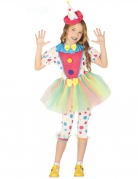 Déguisement clown à pois pastel avec tutu fille