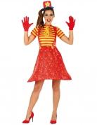 Déguisement clown rigolo multicolore femme
