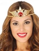 Serre-tête métal or avec pierre rouge super héroïne femme