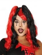 Perruque arlequin couettes noires et rouges femme