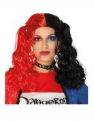 Perruque couettes noires et rouges bouclées femme